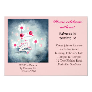 """Frog Girly Pink Cute 5"""" X 7"""" Invitation Card"""