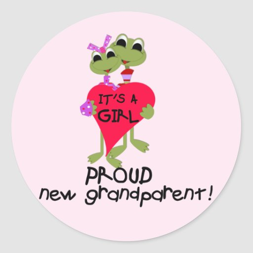 Frog Grandparent of Girl Tshirts and Gifts Round Stickers