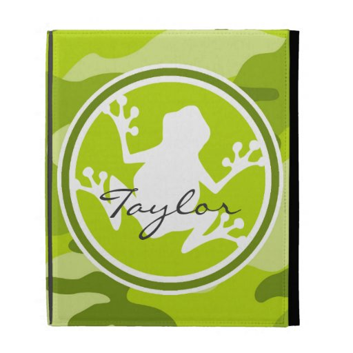 Frog;  green camo, camouflage iPad cases