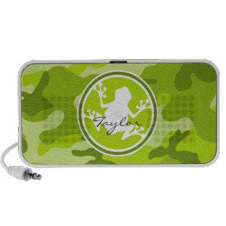 Frog;  green camo, camouflage notebook speaker