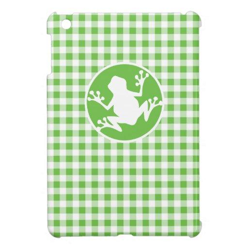 Frog; Green Gingham iPad Mini Covers