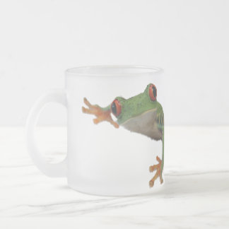 Frog Green Red Frosted Glass Mug