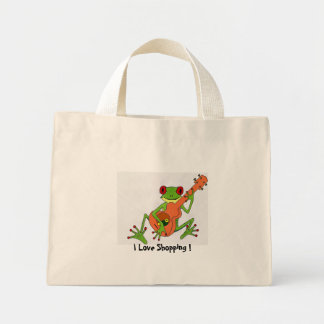 frog, I Love Shopping ! Mini Tote Bag