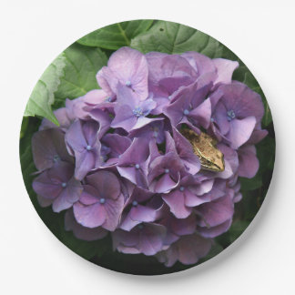 Frog in a Hydrangea, Metal Wall Art Print. 9 Inch Paper Plate