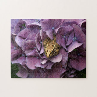 Frog in a Hydrangea, Photo Puzzle. Jigsaw Puzzle