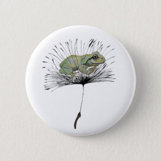 Frog in seed 6 cm round badge