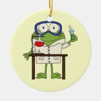 Frog in the Science Lab Ceramic Ornament