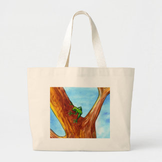 Frog in the tree large tote bag