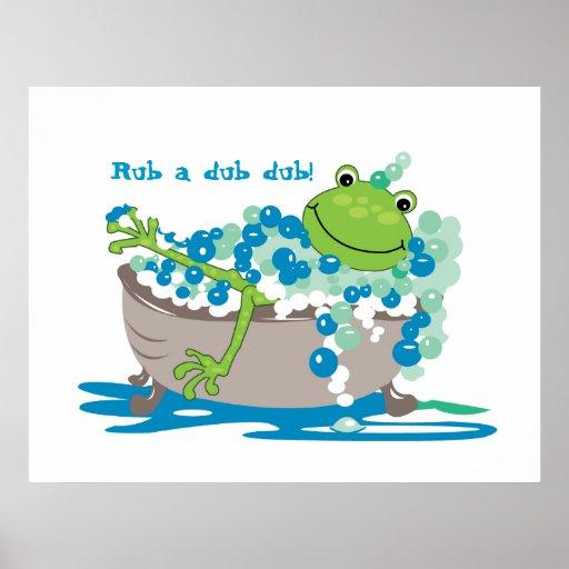 Bathroom Art Au: Frog In Tub Kids Bathroom Art Frog Bathroom Poster