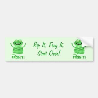 Frog It! Vector Crochet Frog (Green Background) Bumper Sticker