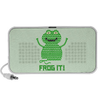 Frog It! Vector Crochet Frog (Green Background) Speaker System