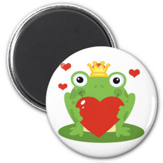 Frog King with Heart 6 Cm Round Magnet