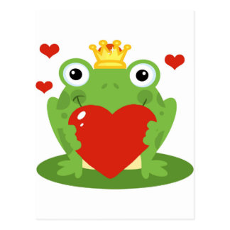Frog King with Heart Postcard