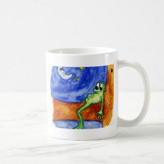 frog laying in tree basic white mug