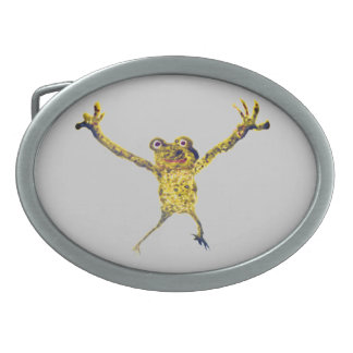 Frog Leaping Funny Animal Art Oval Belt Buckle