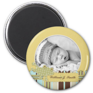 Frog Leaping over Stripe Print Birth Announcement 6 Cm Round Magnet