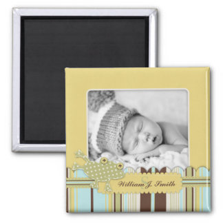 Frog Leaping over Stripe Print Birth Announcement Square Magnet