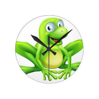 Frog mascot round clock