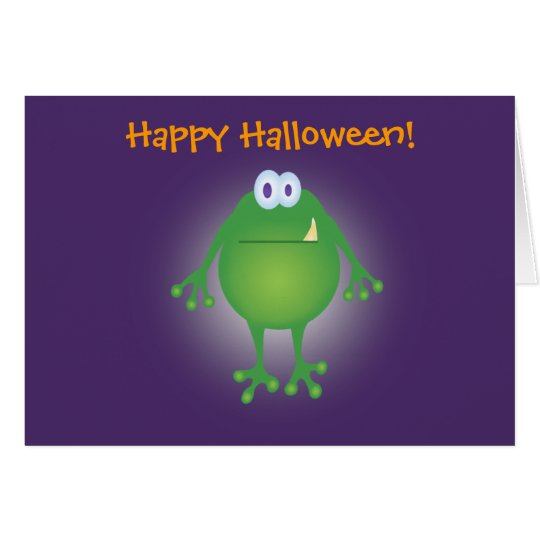 frog monster w background, Happy Halloween! Card