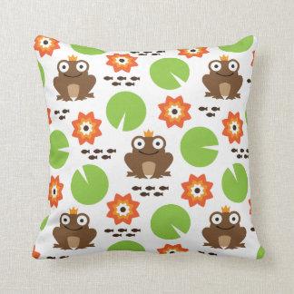 Frog & Nenuphar Seamless Pattern Cushion