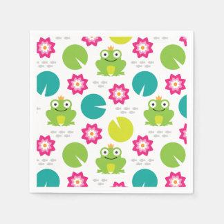 Frog & Nenuphar Seamless Pattern Disposable Napkin