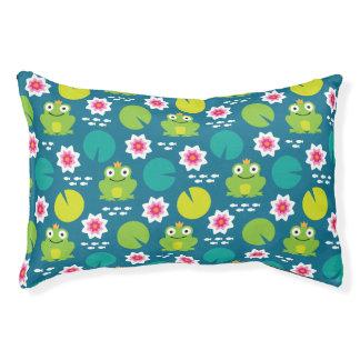 Frog & Nenuphar Seamless Pattern Pet Bed