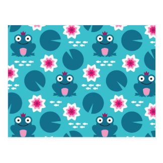 Frog & Nenuphar Seamless Pattern Postcard