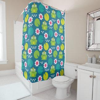 Frog & Nenuphar Seamless Pattern Shower Curtain