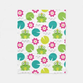 Frog & Nenuphar seamless pattern (ver.1) Fleece Blanket