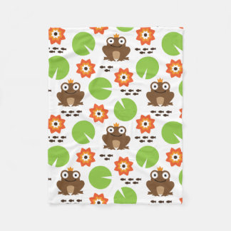 Frog & Nenuphar seamless pattern (ver.6) Fleece Blanket
