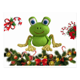 Frog of ganchillo for Christmas with its candies…. Postcard
