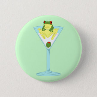 Frog & Olive in Martini Glass 6 Cm Round Badge