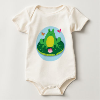 Frog on a lily pad baby bodysuit