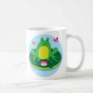 Frog on a lily pad classic white coffee mug