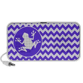 Frog on Blue Violet Chevron Travelling Speaker