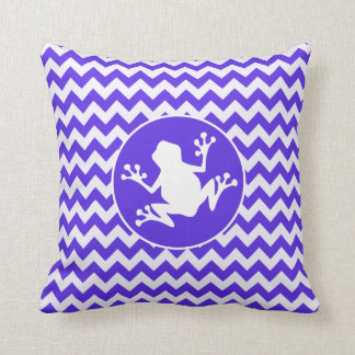 Frog on Blue Violet Chevron Throw Cushion