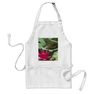 Frog on lily pad art standard apron