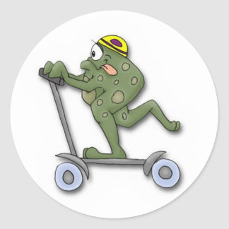 Frog on Scooter Stickers