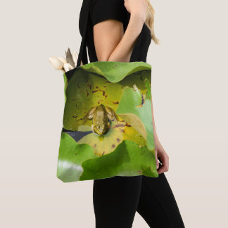 Frog on Water Lilies Tote Bag