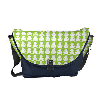 Frog Pattern Green and Navy Commuter Bag