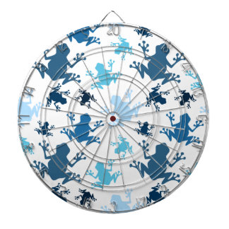 Frog Pattern; Navy, White, Sky, Baby Blue Frogs Dartboard With Darts