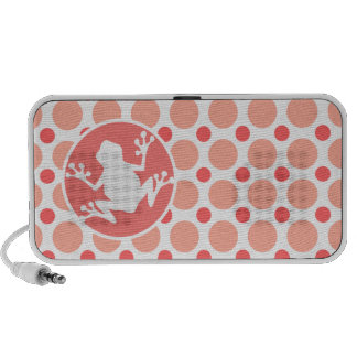 Frog; Pink & Coral Polka Dots Notebook Speaker