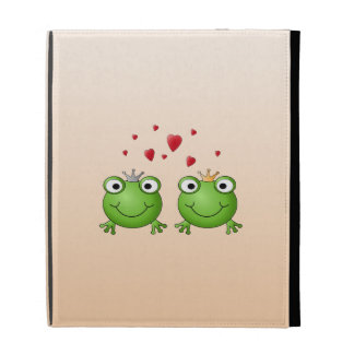 Frog Prince and Frog Princess, with hearts. iPad Folio Cover