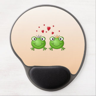 Frog Prince and Frog Princess, with hearts. Gel Mouse Pad