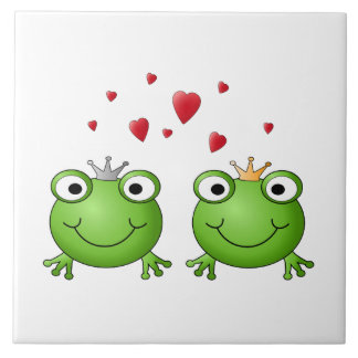 Frog Prince and Frog Princess, with hearts. Large Square Tile