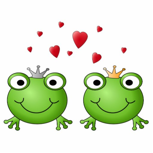 Frog Prince and Frog Princess, with hearts. Photo Sculpture Magnet