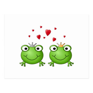 Frog Prince and Frog Princess, with hearts. Postcard