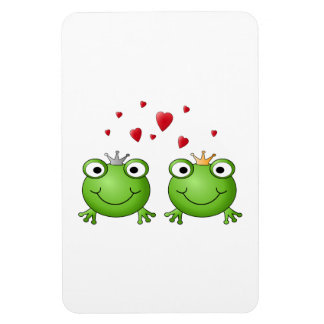 Frog Prince and Frog Princess with hearts Flexible Magnets