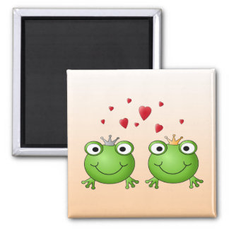 Frog Prince and Frog Princess, with hearts. Square Magnet