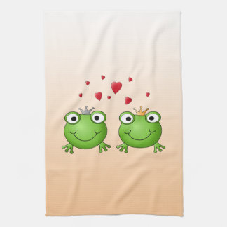 Frog Prince and Frog Princess, with hearts. Tea Towels